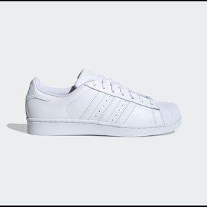 Adidas all white superstars
